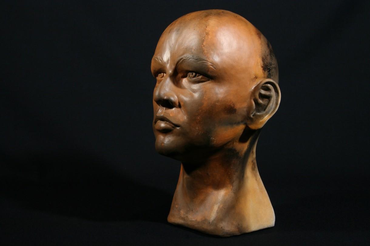 Photograph of a sculptured head